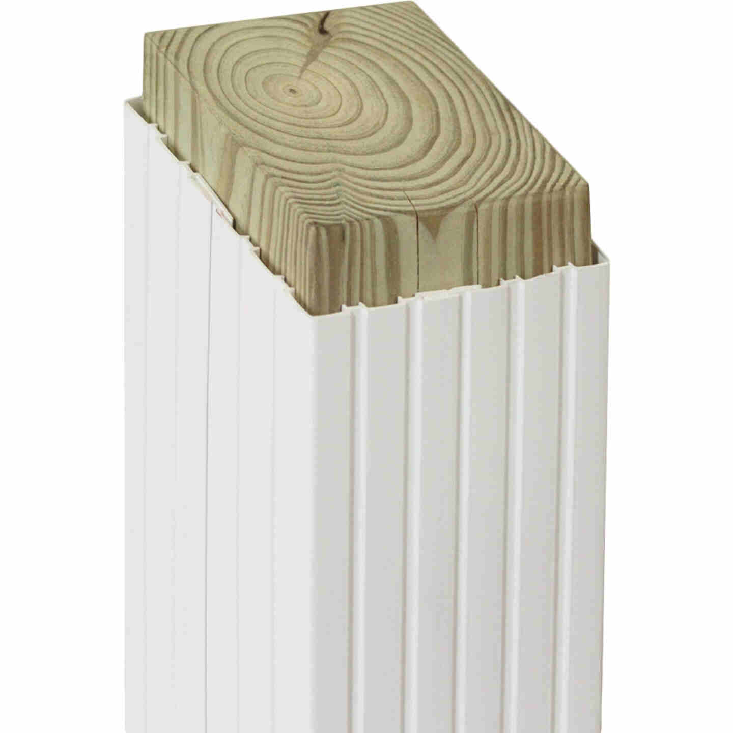 Beechdale 6 In. W. x 6 In. H. x 102 In. L. White PVC Fluted Post Wrap Image 1