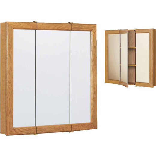 Continental Cabinets Oak 24 In. W x 24 In. H x 4-1/2 In. D Tri-View Surface Mount Medicine Cabinet
