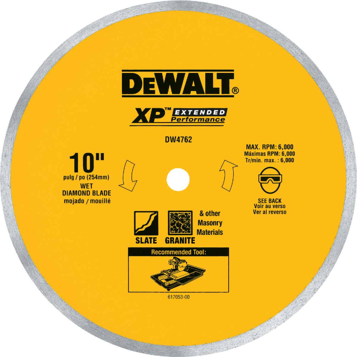 DeWalt Extended Performance 10 In. Continuous Rim Dry/Wet Cut Tile Diamond Blade Image 1