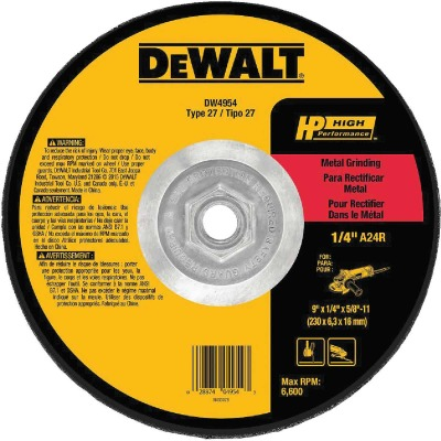 DeWalt HP Type 27 9 In. x 1/4 In. x 5/8 In.-11 Metal Grinding Cut-Off Wheel