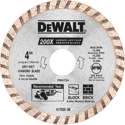 DeWalt High Performance 4 In. Turbo Rim Dry/Wet Cut Diamond Blade