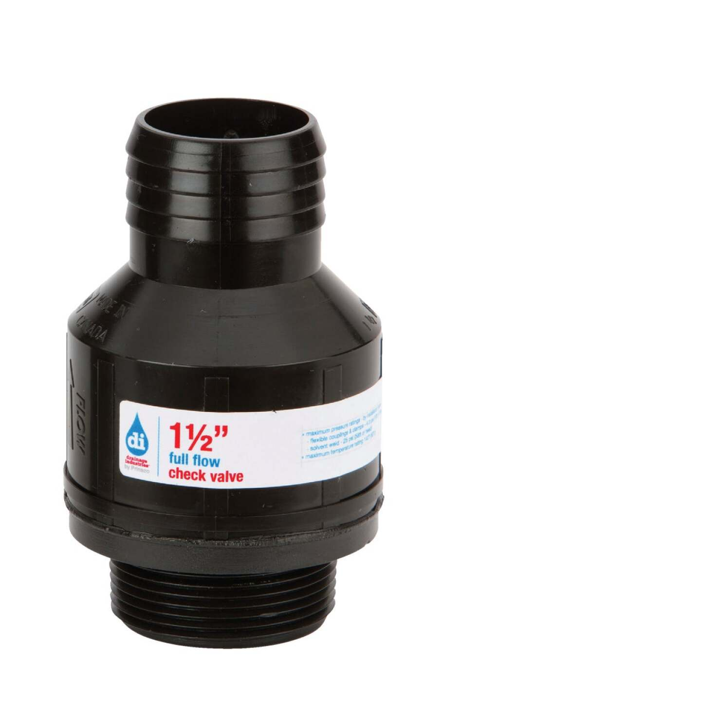 Drainage Industries 1-1/2 In. ABS Thermoplastic Full-Flow Sump Pump Check Valve Image 1
